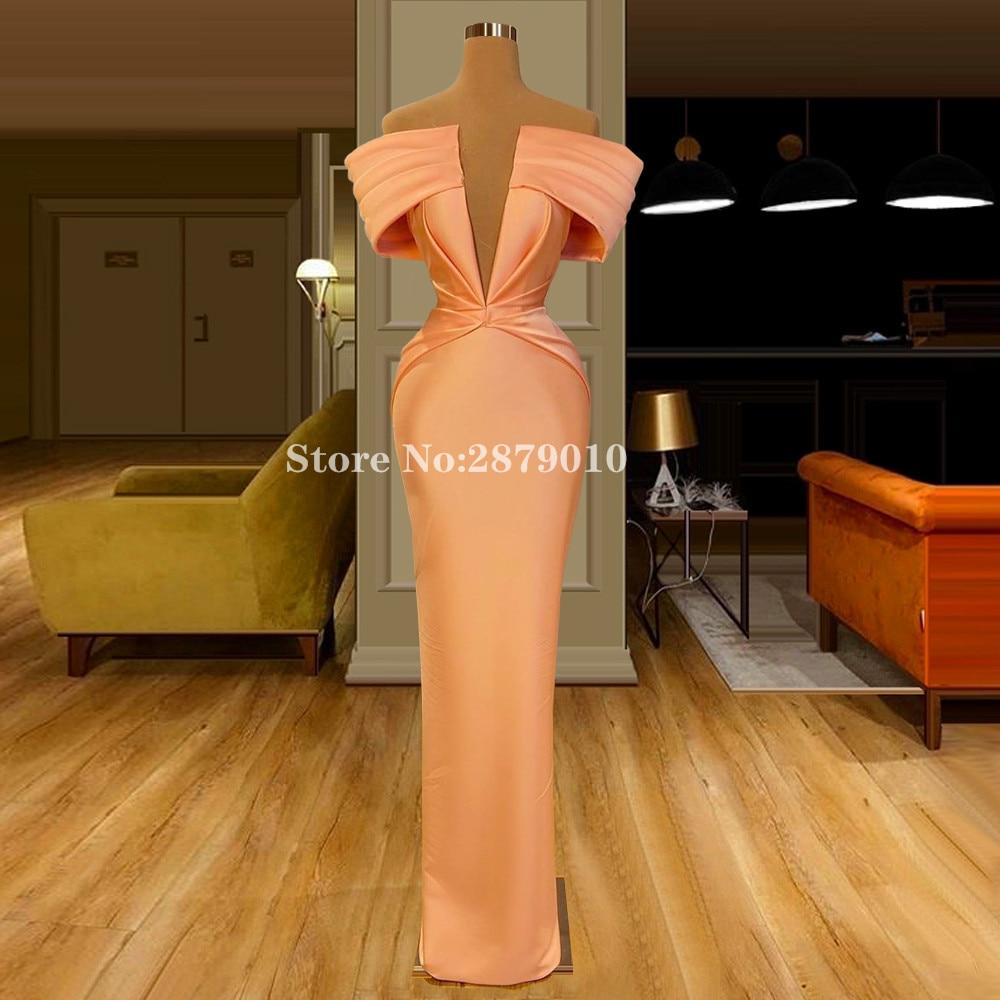 Islamic Elegant Orange Strapless Mermaid Evening Dress Floor-Length Prom Dress Celebrity Dress Middle East Plus Size 2020 Dubai