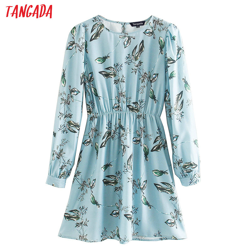 Tangada Women Elegant Leaf Print Blue Dress O Neck Long Sleeve 2020 Korean Fashion Office Lady Mini Dresses Vestido XN436