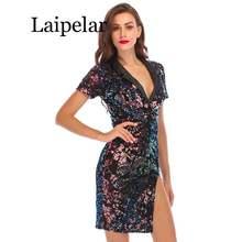 Модное сексуальное летнее платье с блестками женские платья
