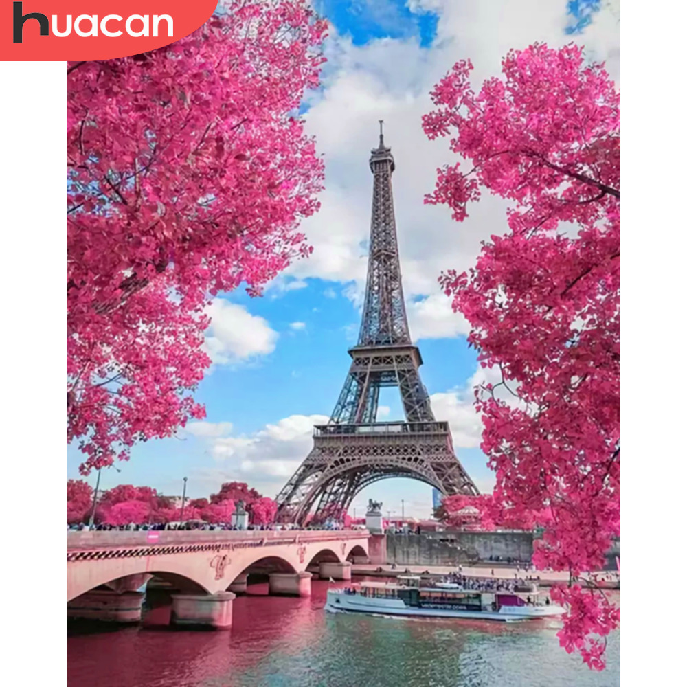 HUACAN Pictures By Numbers Tower Landscape Art DIY Oil Painting By Numbers Scenery Canvas Painting Living Room