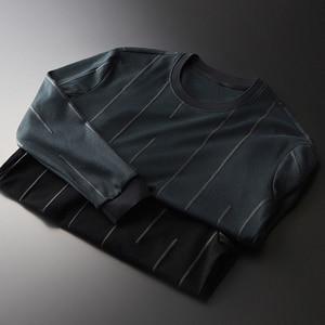 Image 1 - Sudadera verde con cuello redondo de Minglu, sudadera informal de lujo con rayas verticales para hombre, sudaderas para primavera y otoño, tallas grandes 4XL
