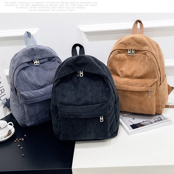 new arrival women backpack 100% genuine leather ladies travel bags preppy style schoolbags for girls knapsack holiday Women Backpack Preppy Style School Bags Soft Fabric Travel Backpack Corduroy Bookbag for Teenage Girls Striped Small Backpack