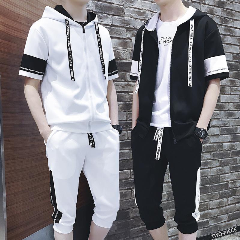2019 Spring Summer New Fashion Male Even Hat Twinset Motion Suit Pattern Clothes Set Best Tracksuit Men Gym Thin Short Hip Hop