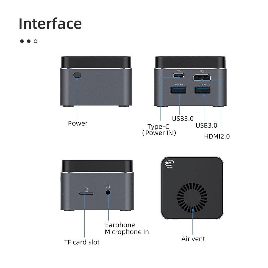 BEBEPC Portable Mini PC Intel Celeron N4100 Quad Cores 8GB LPDDR4 Windows 10 2.4G/5G Dual Band Wifi Bluetooth 4.2 HDMI 2.0 2*USB-5