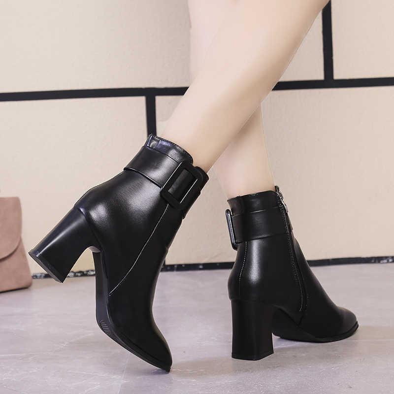 Trắng Đen Dày Cao Gót Ống Giày Nữ 2020 Mũi Nhọn Giữ Ấm Ngắn Thanh Lịch Boot Nữ Cổ Chân Khóa Trang Trí