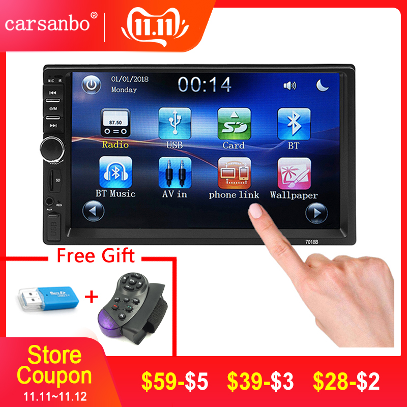 Carsanbo <font><b>2</b></font> <font><b>Din</b></font> 7 Inch Bluetooth Car Video Mp5 Mirror Link Touch Screen Car <font><b>Radio</b></font> Player,Steering Wheel Control/Rear View Camera image