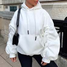 Hoodie Western Style 2021 New Autumn Winter Solid Color Fashion Design Loose Casual Hooded Collar Women Long Sleeve