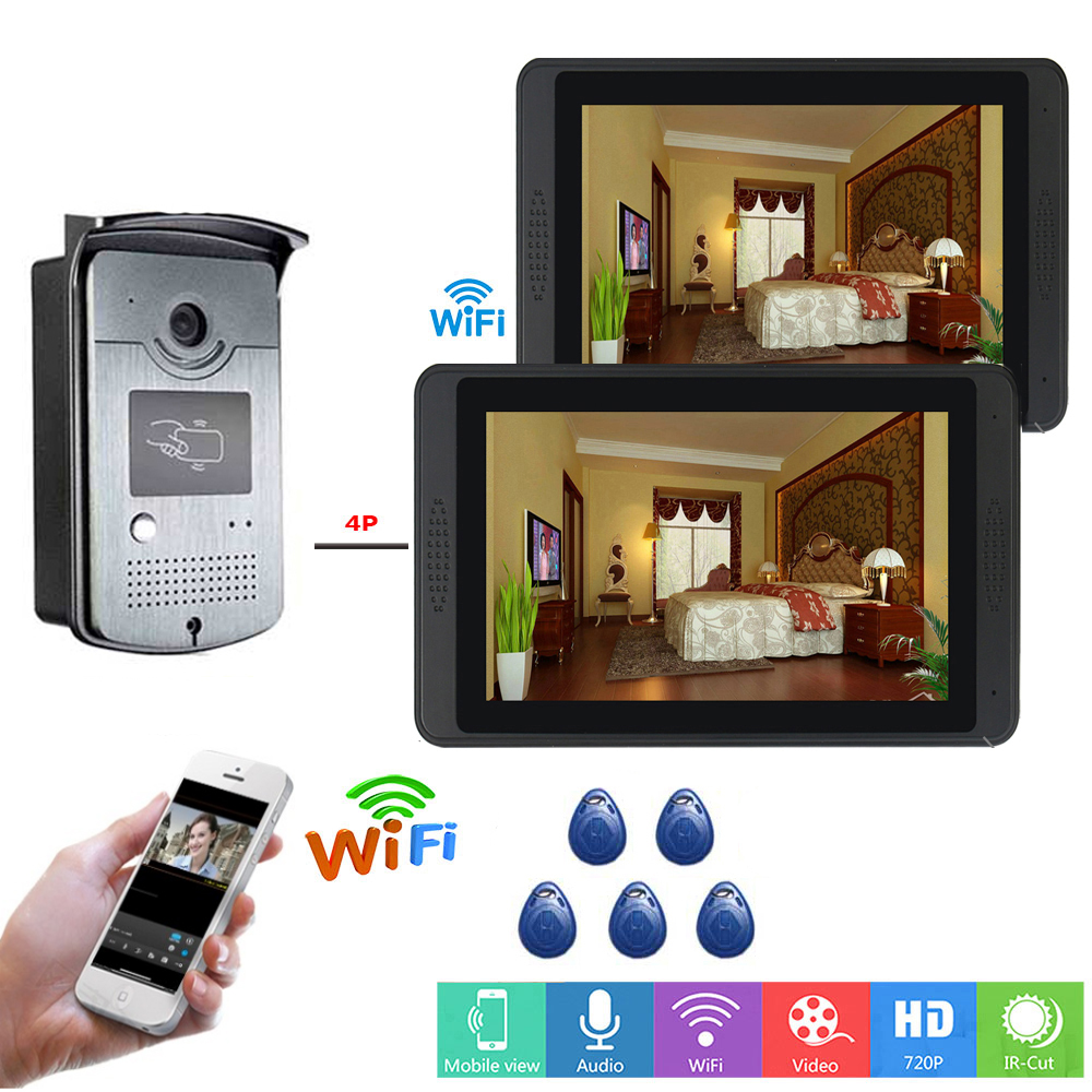 SmartYIBA  Video Intercom 7Inch LCD Wifi Wireless Video Door Phone Doorbell RFID Access Camera Intercom System APP Remote Unlock