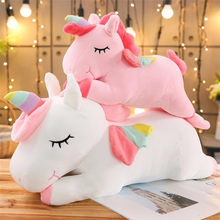 Kawaii unicórnio gigante brinquedo de pelúcia macio recheado unicórnio bonecas macias 20-80cm cavalo animal brinquedos para crianças menina travesseiro presentes de aniversário