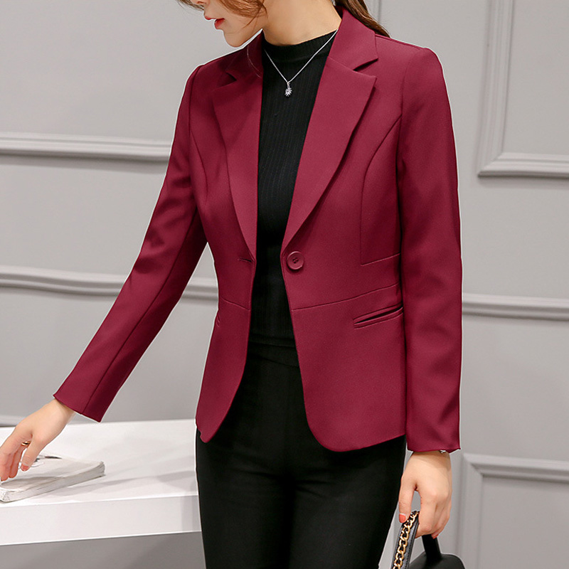 Women's suits plus size blazer autumn and winter slim long-sleeved solid color fashion casual woman suit ??????? ???????