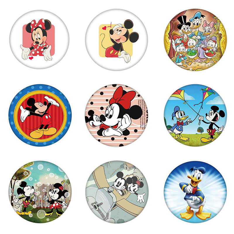 1PCS New Arrival Cartoon Animal Brooch Mickey Minnie Daisy Donald Icon Plastic Badge Pin Kids Party Present Decoration On Bag