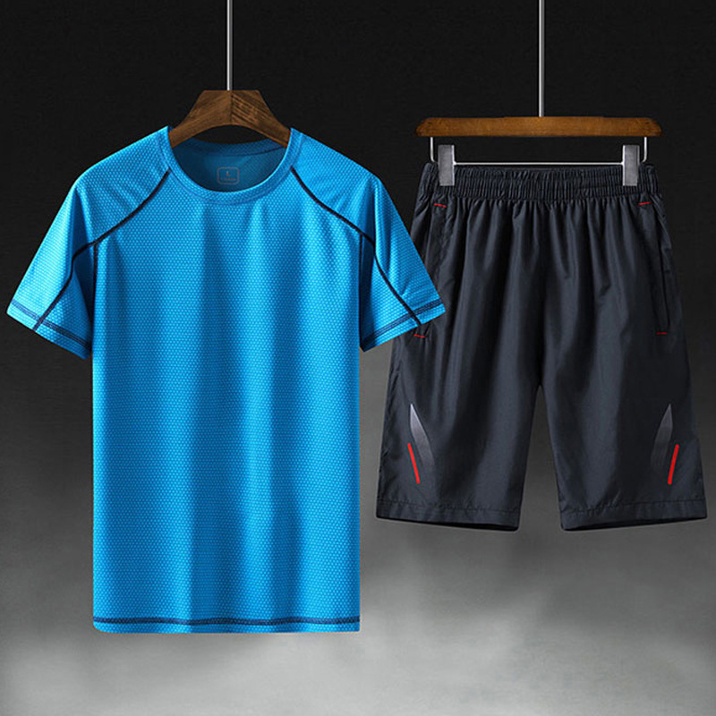 Large Size Sports Set MEN'S Short Sleeve Shorts 2019 Summer New Style Quick-drying T-shirt Jogging Suits Gym Two-Piece Set
