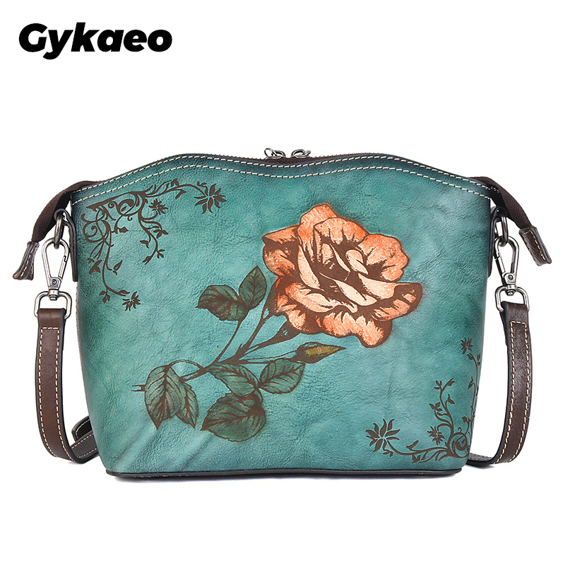 High Quality Retro Cowhide Women Bag 2020 New Genuine Leather Leisure Large Capacity Floral Shoulder & Crossbody Bags Purse