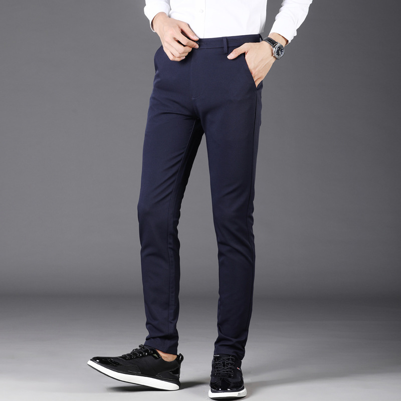 Casual Pants Men Youth Trousers Spring New Style Business Slim Fit Skinny Pants Men's Elasticity Button Pants 1010