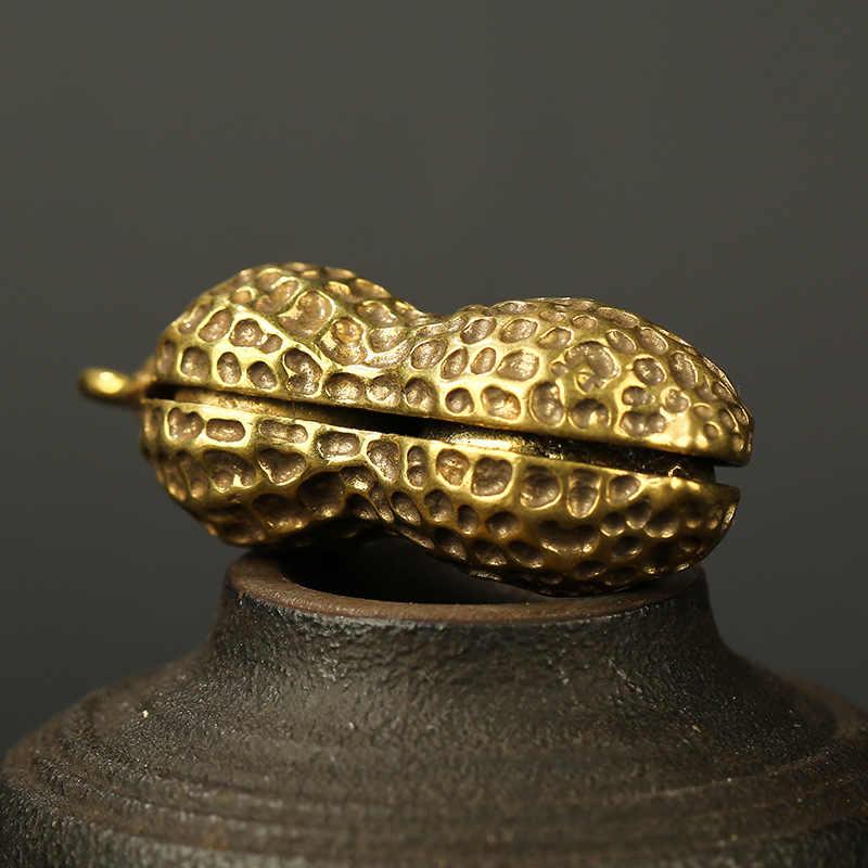 Bakır erkek Metal fıstık araba aksesuarları anahtarlıklar kolye hediyeler Vintage pirinç anahtarlık yüzük asılı biblo takı anahtarlıklar