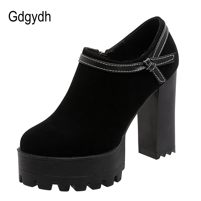 Gdgydh Fashion Bowknot Faux Suede Thick High Heels Shoe Punk Platform Pumps Women Female Office Shoes Outdoor Large Size Spring