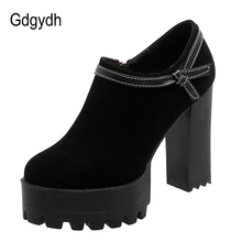 Gdgydh Fashion Bowknot Faux Suede Thick High Heels Shoe Punk