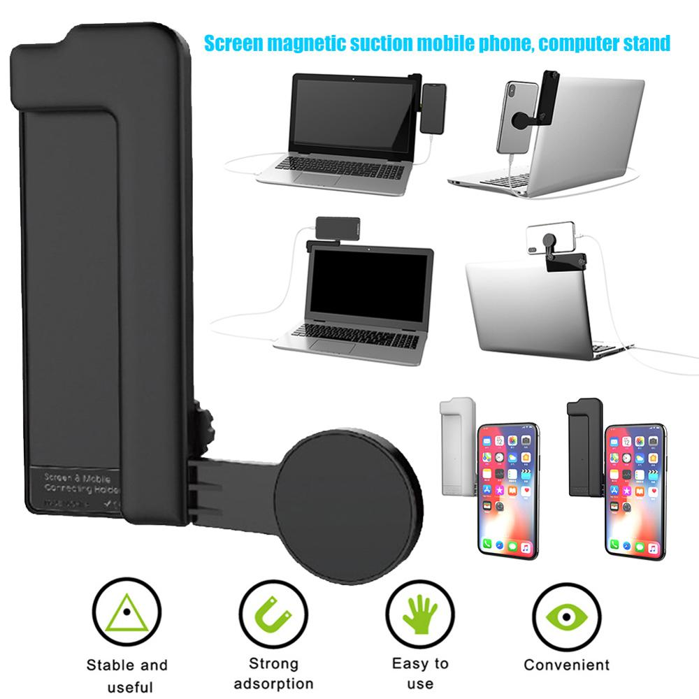 Ulti-screen Support Dual-screen Display With Adjustable Universal Phone Stand On The Side Of The Laptop