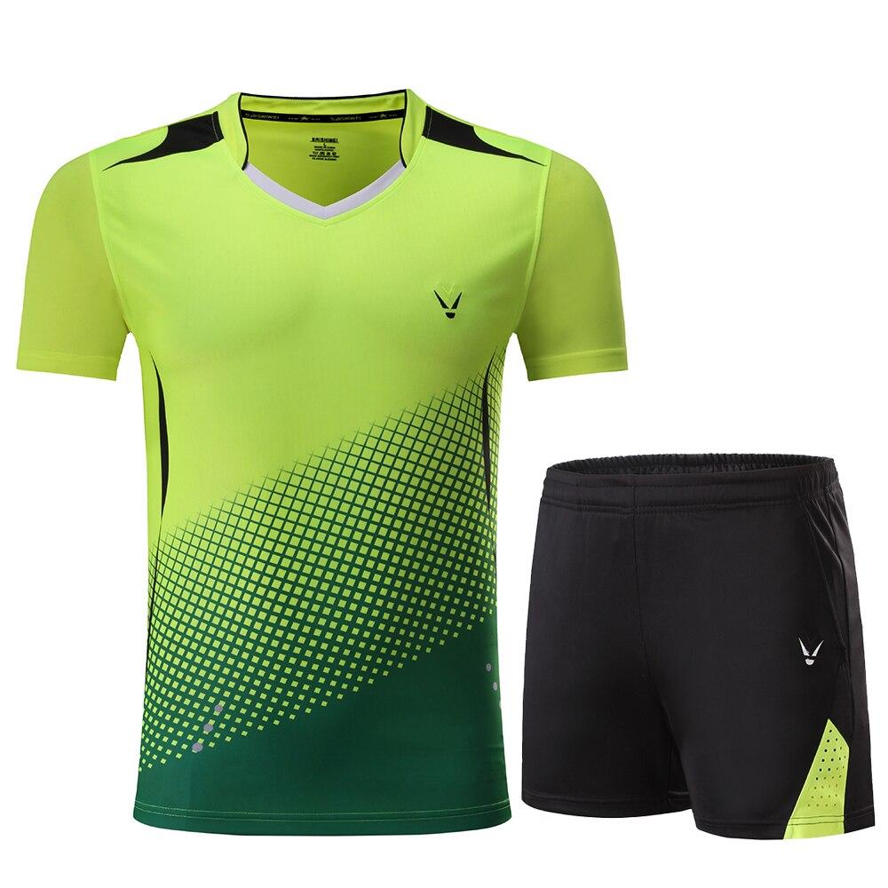 Детская рубашка для мальчиков бадминтон синий костюм для девочек бадминтон Женская рубашка форма для бадминтона теннисные командные спортивные комплекты, шорты, одежда - Цвет: 3860 Greed