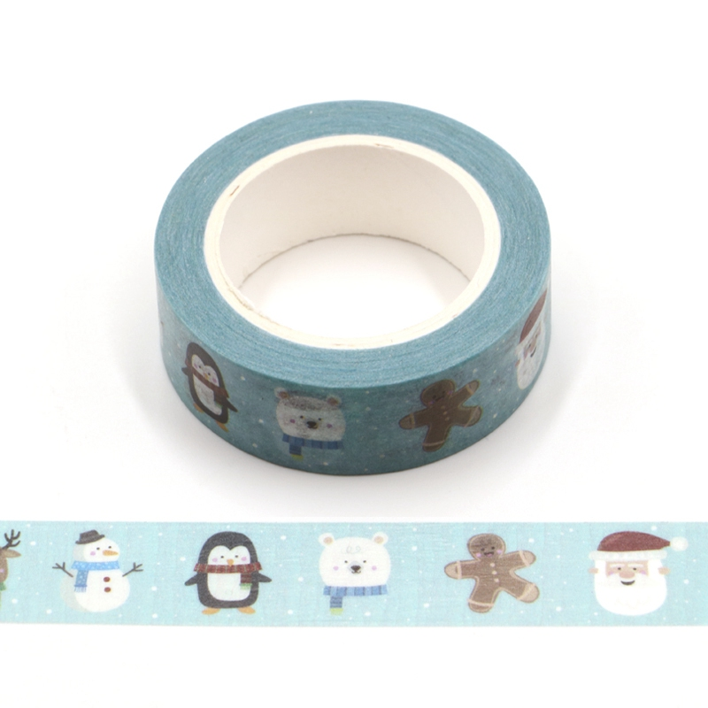 10PCS/lot Decor Christmas Washi Tapes Penguin Reindeer Snowman For Planner Adhesive Stickers Masking Tapes Cute Stationery
