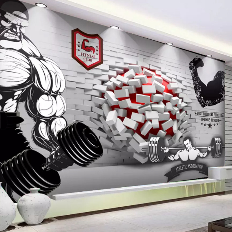 Cool 3D Wall And Into Gym Workwear Fitness Clubhouse Background Wallpaper Mural Wall Cloth