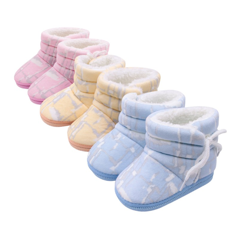 Newborn Baby Shoes Winter Toddler Print First Walkers Fashion Baby Boys Fur Snow Soft Warm Boots For Girls