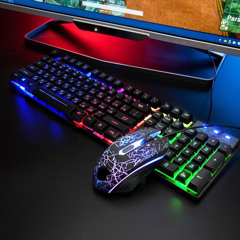 T5 Rainbow Backlit USB Keyboard 104 Keys Ergonomic Games English Russian Keyboard and Mouse Set PC Notebook Mechanical