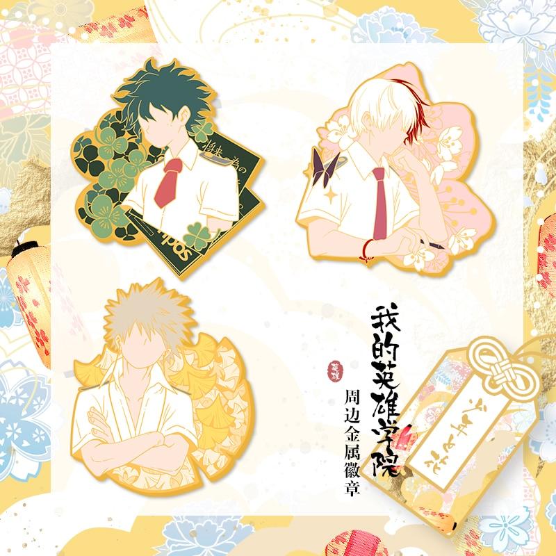Anime Boku No My Hero Academia Midoriya Todoroki Bakugou Cosplay Metal Bedge Bags Badge Button Brooch Pin Souvenir