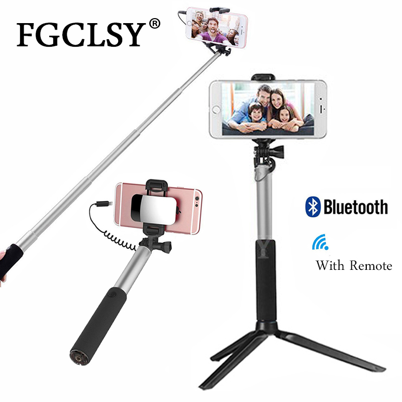FGCLSY Metal Wired Selfie Stick With Bluetooth Remote Foldable Tripod Handheld Portable Extendable Monopod For Iphone 6s IOS