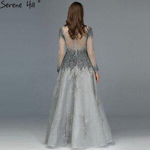 Image 4 - Muslimischen Grau Luxus Langen Ärmeln Abendkleider 2020 Neueste Design Kristall High Neck Formale Kleid Ruhigen Hill LA60975