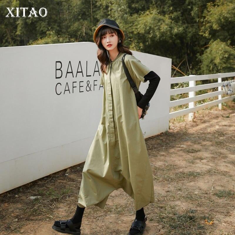 XITAO Plus Size Pleated Women 2020 Spring Elegant Single Breast Pocket Pocket Goddess Fan Minority Casual Jumpsuits DMY3379