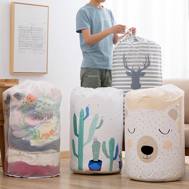 Drawstring Bag Foldable Storage Bag Clothes Blanket Quilt Closet Sweater Organizer Box Pouches Bear Housekeeping Container