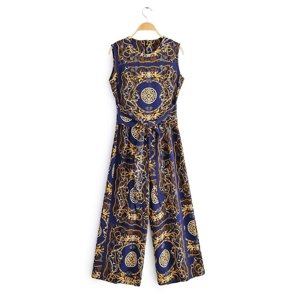 New Women Vintage Totem Chain Print Casual Siamese Court Ladies Bow Tied Sashes Wide Leg Conjoined Pants Chic Jumpsuits P602