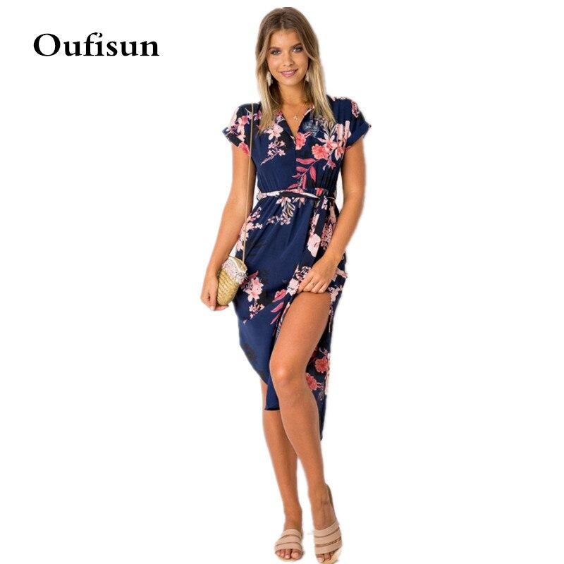 Oufisun Summer Sexy V-neck Short Sleeve Women's Dress New Casual Flower Print Beach Split Dresses Fashion Asymmetry Tunic Dress thumbnail