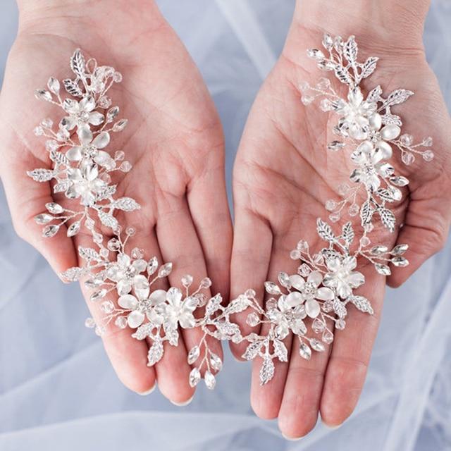 Bandeaux de mariage pour mariée cheveux accessoires perle strass mariée diadème fleur mariage bandeau casque femmes accessoires