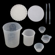 9Pcs Silicone Mat Epoxy Resin Mixing Measuring Cups Tools Kit Cups 100ml 250ml Sticks Spoon Resin Casting Jewelry Making