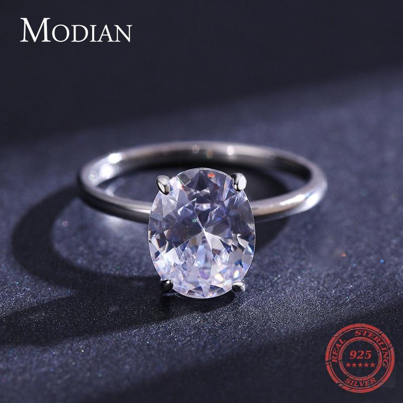 Modian basique 925 en argent Sterling grand luxe ovale coupe clair zircone bague pour les femmes fiançailles bague de mariage promesse anneau 5
