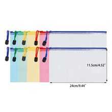 10 Pieces Zipper File Pouch Grid Document Bag Multipurpose Storage Bags for Offices Supplies Travel Accessories, 5 Colors