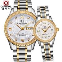 Best Couple Gift CARNIVAL Luxury Couple Watch Automatic Mechanical Watch For Lovers Sapphire Calendar Waterproof Luminous Reloj