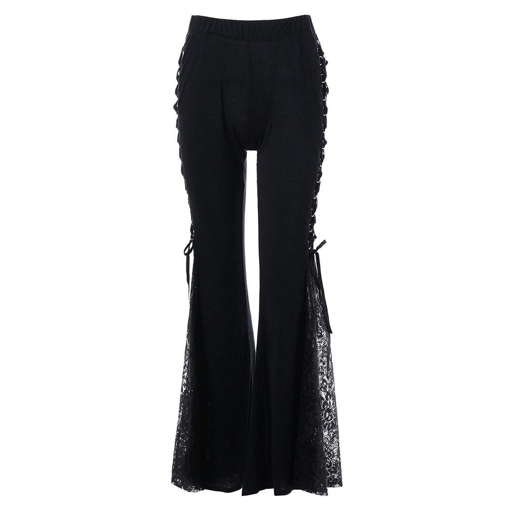Women Lace Flare Pants Lace Up Patchwork Gothic Slim Trousers Bandage Side See Through Club Casual Pantalones Bell Bottoms Pants
