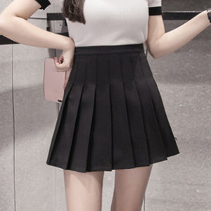 Sweet Pleated Skirt Women Preppy Style Mini High Waist Skirt Girls Vintage Black White Cute School Uniforms Skirt #T1P
