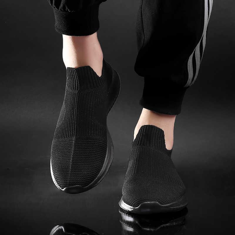 WDHKUN yaz moda erkek spor ayakkabı nefes erkekler moda ayakkabılar için Sneakers üzerinde kayma erkekler ucuz loafer ayakkabılar olmadan