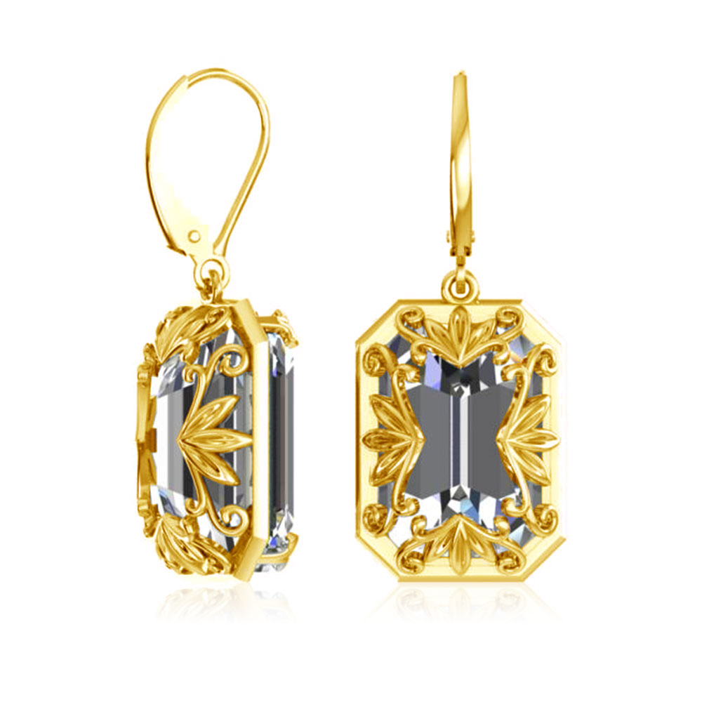 Real 925 Sterling Silver Earrings 14K Gold Jewelry Creator Rectangle Zircon Fashion Jewelry For Women Accessories 925 Earrings