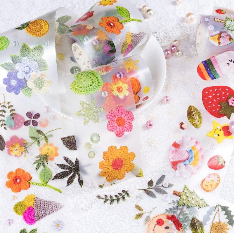 Embroidery PET Transparent Washi Tape Kawaii Masking Tape Cute Stereoscopic Flower Plant Washi Tape Diary Journal Decoration
