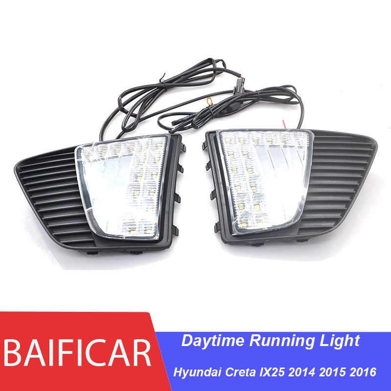 Baificar marka orijinal LED gündüz koşu işık sis DRL ile sarı dönme sinyali lamba Hyundai Creta için IX25 2014 2015 2016