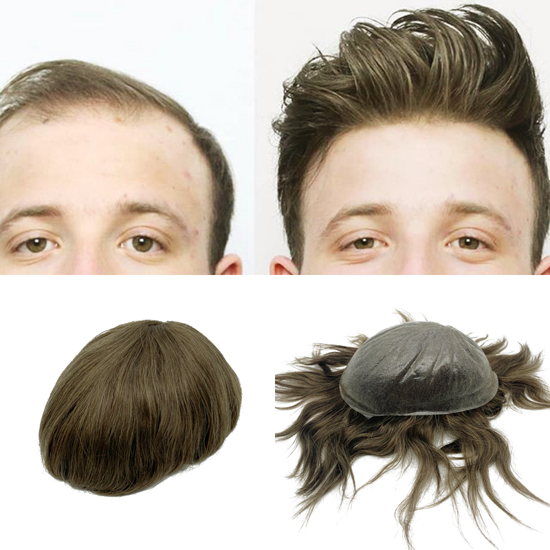 Thin Skin Wig Human Hair Men Toupee Good Quality Hair Piece Men Free Shipping