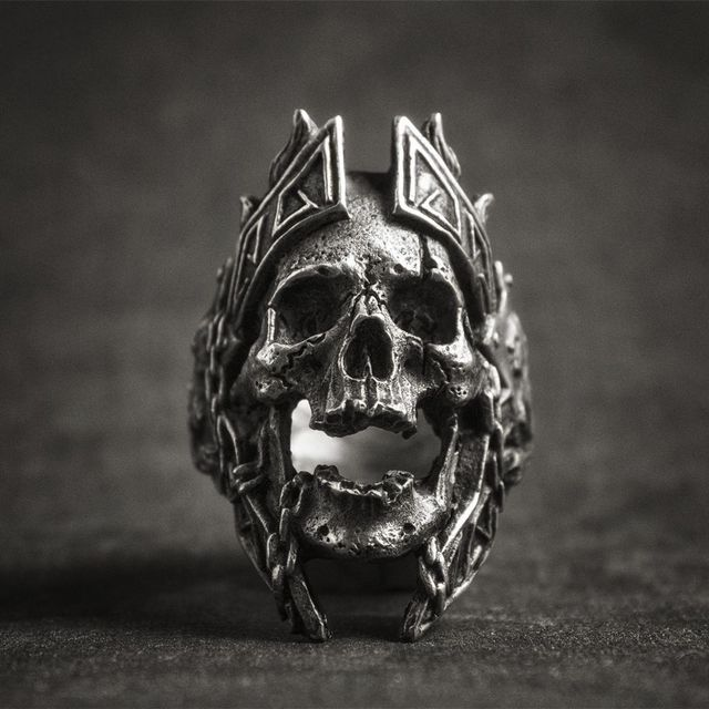 STAINLESS STEEL GOD OF WAR SKULL RINGS