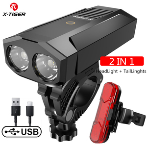 Image 5 - X TIGER אופני אור 1800 לום MTB כביש אופניים שפתוחה מנורת אופני אביזרי אטים לגשם USB נטענת LED אופני פנס