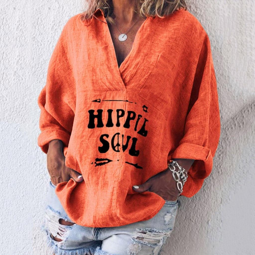 JAYCOSIN Female Blouse Womens Long Sleeve Cotton packets Linen Kaftan Baggy Blouse Tee Shirt Tops Blouse Ladies Girls 805