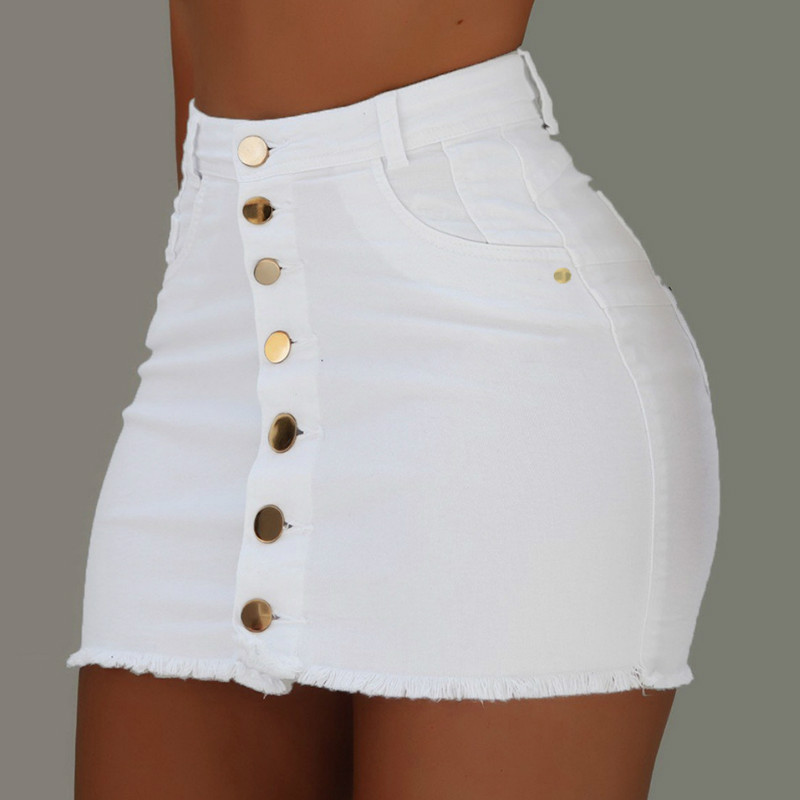 Women Button Denim Jeans Bodycon Mini Skirts Strench High Waist  Sexy Club Skirt Summer